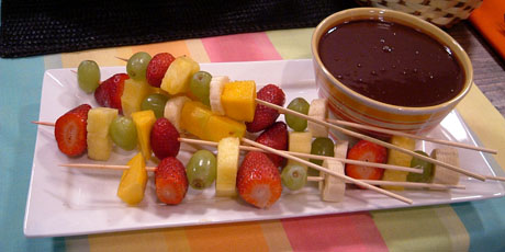 Fruit Sticks with Chocolate Dipping Sauce