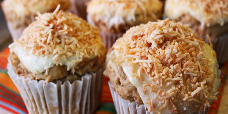 Gluten-Free Sunshine Muffins with Marmalade Frosting and Coconut Crust
