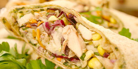 Grilled Chicken, Cabbage and Corn Stuffed Tortilla Wraps