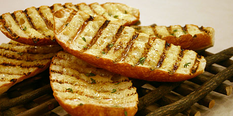 Grilled Garlic Bread with Thyme Infused Butter Recipes | Food Network ...