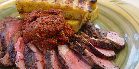 Grilled Lamb with Dried Tomato Mint Tapenade