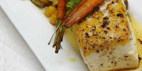 Halibut with Brown Butter, Crushed Chickpeas with Olives ...