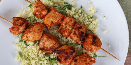 Harissa marinated chicken skewers with couscous recipes food harissa marinated chicken skewers with couscous print recipe forumfinder Choice Image