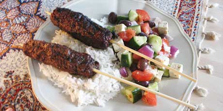 Kebab Koobideh, Rice and Mediteranean-Style Salad
