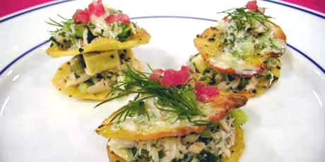 Layered Crab on Potato Crisps