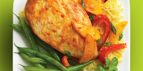 ... chicken breast in a VH ® Mango Curry Sauce and served with sliced