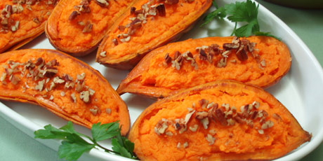 Maple Pecan Stuffed Sweet Potatoes Recipes | Food Network Canada