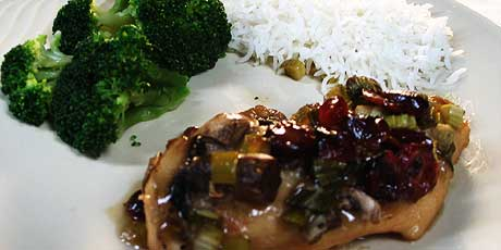 Maple Cranberry Chicken Breasts with Rice and Broccoli