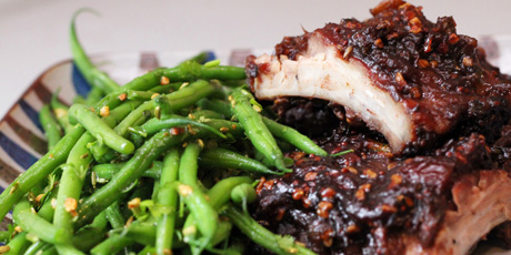 Maple Date Short Ribs and Green Beans