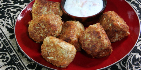 Mozzarella Gobi Koftas with Sweet Potato Raita Recipes | Food Network ...