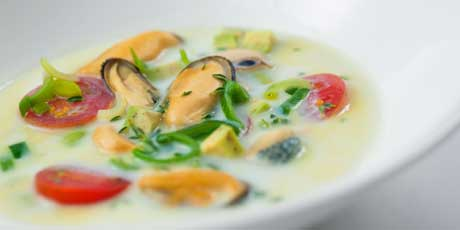 Mussel Soup with Avocado, Tomato and Dill Recipes | Food Network ...