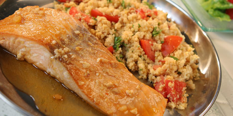 Blackened Salmon With Crunchy Coconut Couscous Recipe ...