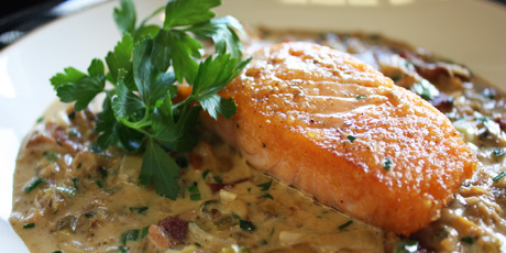 Pan Rushed Salmon with Bacon Clam Chowder