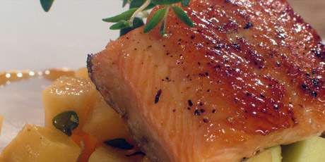 Pan Seared Maple Trout with an Apple Turnip Compote