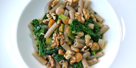 Pasta with Rapini, Broad Beans, Rosemary & Walnuts