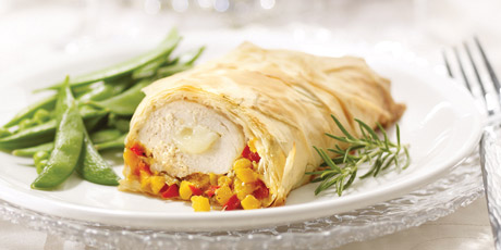 Phyllo Chicken with Creamy Brie & Veggie Confetti