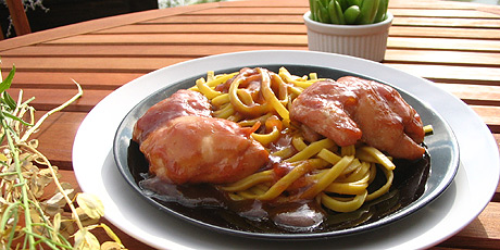 Plum chicken with singapore noodles and asparagus recipes food plum chicken with singapore noodles and asparagus forumfinder Images