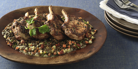 Pork Chops with Braised Lentils