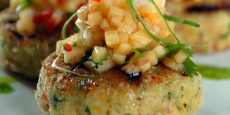 Power play crab cakes with peach salsa recipes food network canada power play crab cakes with peach salsa forumfinder Choice Image
