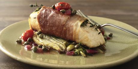 Prosciutto-Wrapped Halibut With Summer Squash Recipe ...
