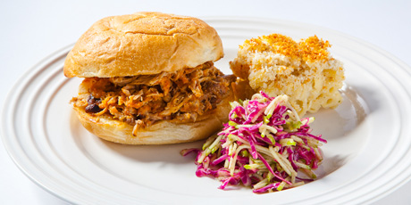 Pulled Pork Sandwich, Mac and Cheese, and Red Cabbage and Green Apple Slaw