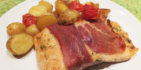 Quick and easy prosciutto wrapped salmon with roast potatoes recipes quick and easy prosciutto wrapped salmon with roast potatoes print recipe forumfinder Gallery