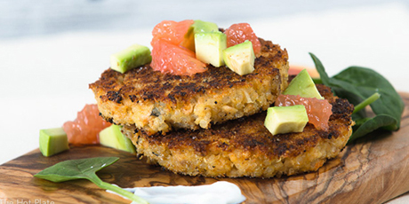 Quinoa salmon cakes with citrus salsa recipes food network canada quinoa salmon cakes with citrus salsa print recipe forumfinder Images