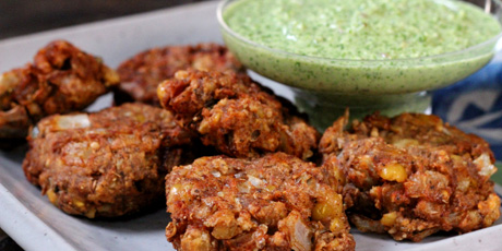 Refried Bean Pakoras with Cilantro Coconut Chutney Recipes | Food ...