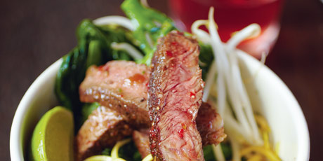 Rib-Eye Stir-Fry, Dan Dan Noodles, Chilled Hibiscus Tea