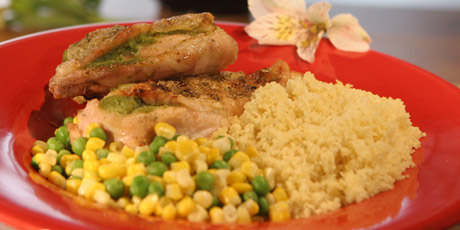 Roast Chicken with Veggie Stuffing, Couscous, Corn and ...