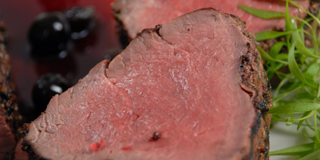 Roasted 3 Peppercorn Beef Tenderloin with Cherry Sauce Recipes | Food ...