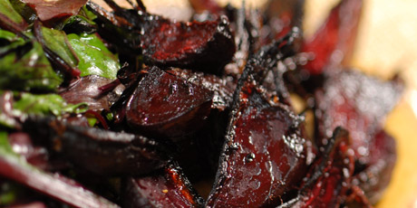 Roasted Beet Root with Sauteed Greens