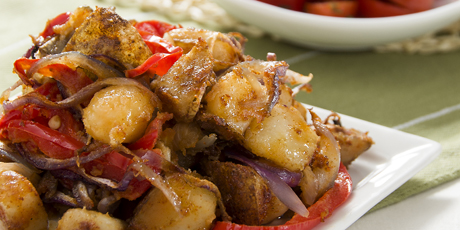 Roasted Breakfast Potatoes with Tomato Salad