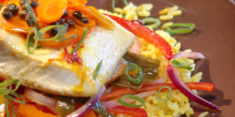 Saffron Halibut Packets With Saffron Rice And Sauteed Peppers Recipes Food Network Canada