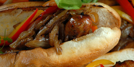 Sausage with Caramelized Onion and Pepper