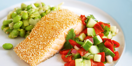 Sesame Crusted Salmon with Roasted Pepper Salsa