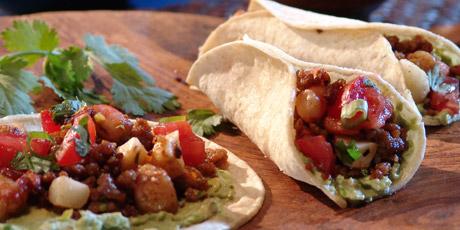 Shrimp and Pork Tacos with Tomato Salsa and Creamed Avocado
