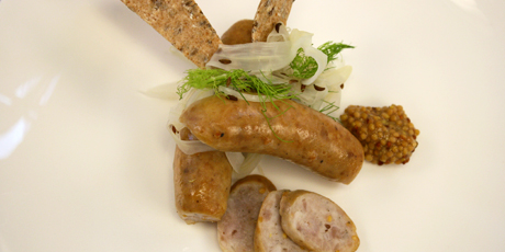 Smoked Garlic Sausages, Caraway Pickled Fennel, Kasha and Flax Lavash ...