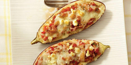 Smoky Stuffed Eggplant with Mozzarella and Feta Recipes | Food Network ...