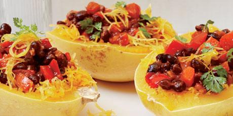 Spaghetti Squash With Chili Black Beans Recipes Food Network Canada