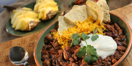Spicy Black Bean and Raisin Chili with Fresh Pineapple and Tortillas