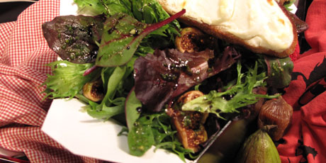 "Sweet Fig and Mesculin ""Splitsville"" Salad with Nutty Pesto and Goat Chese Crostini"