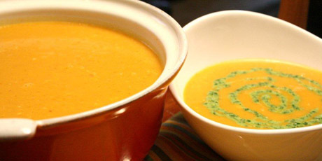 Thai Curry Pumpkin Soup with a Coriander Swirl
