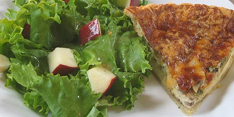 Three cheese vegetarian quiche with tossed salad recipes food three cheese vegetarian quiche with tossed salad forumfinder Gallery