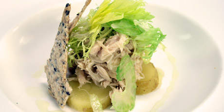 Tuna Conserva, Pickled Potatoes and Celery Salad with Fennel and Lemon Crackers