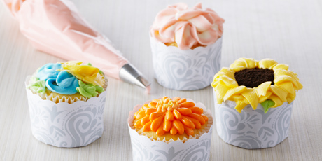 Vanilla cupcakes with floral frostings recipes food network canada vanilla cupcakes with floral frostings forumfinder Image collections
