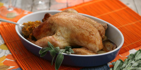 Whole Roasted Chicken with Pumpkin Dressing