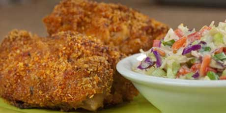 """Faux"" Fried Chicken and Coleslaw"