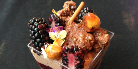 Milk Chocolate Rice Pudding with Blueberry Compote and Hazelnut Streusel