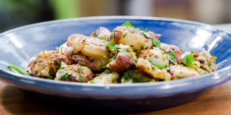 Grilled Smashed Potatoes with Toasted Cumin Vinaigrette